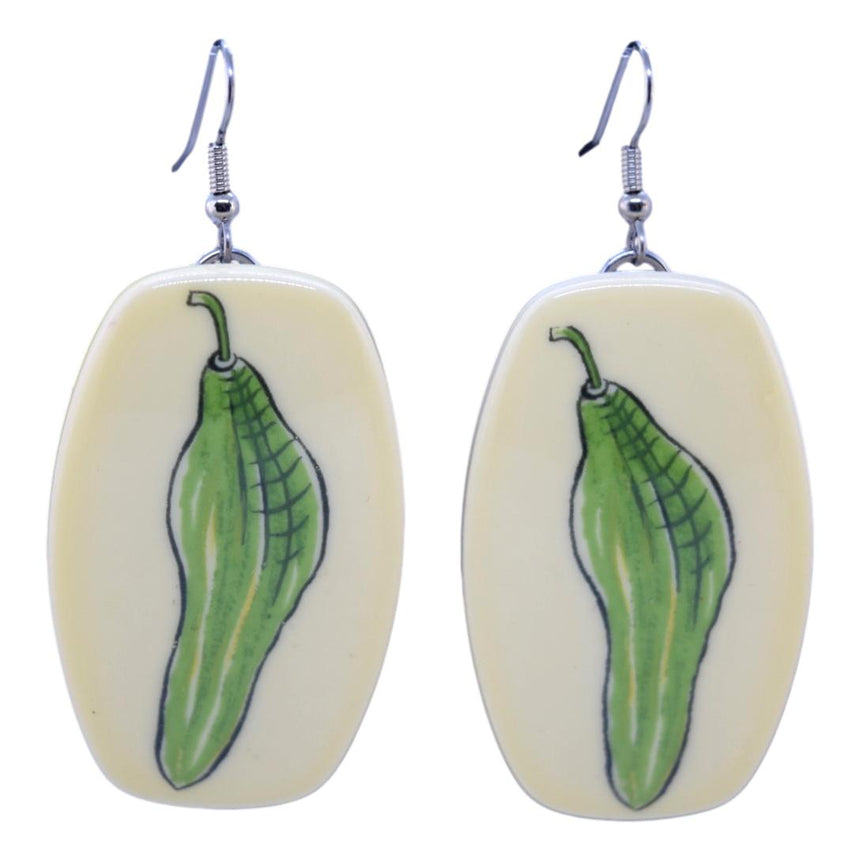 Vintage Plastic Green Pepper Vegetable Earrings
