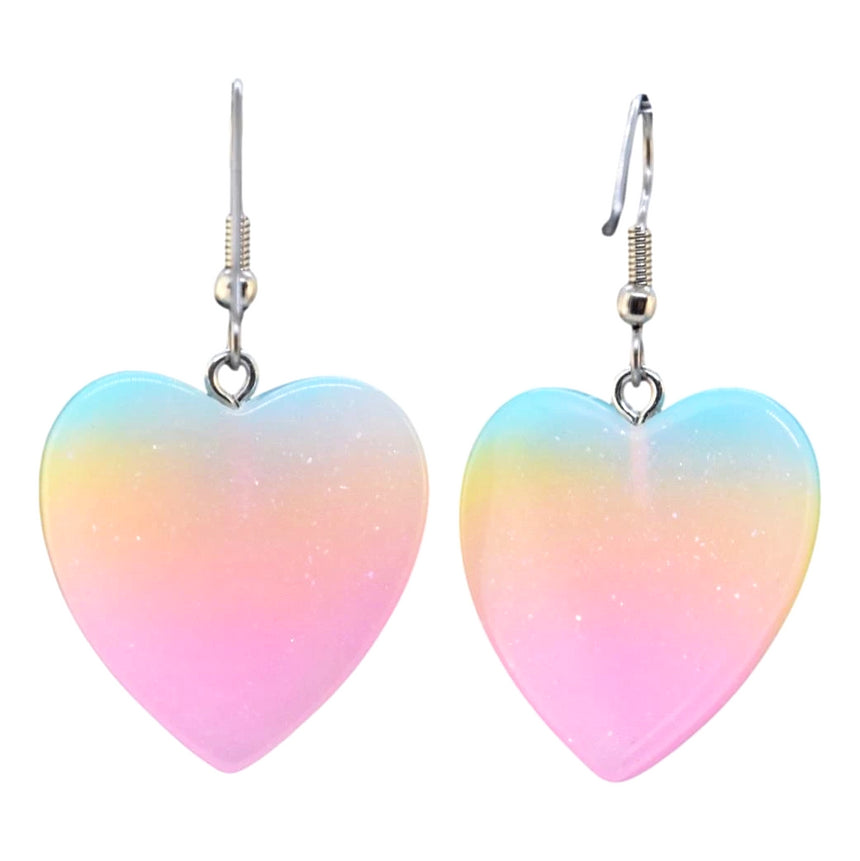 Neon Ombre Heart Earrings