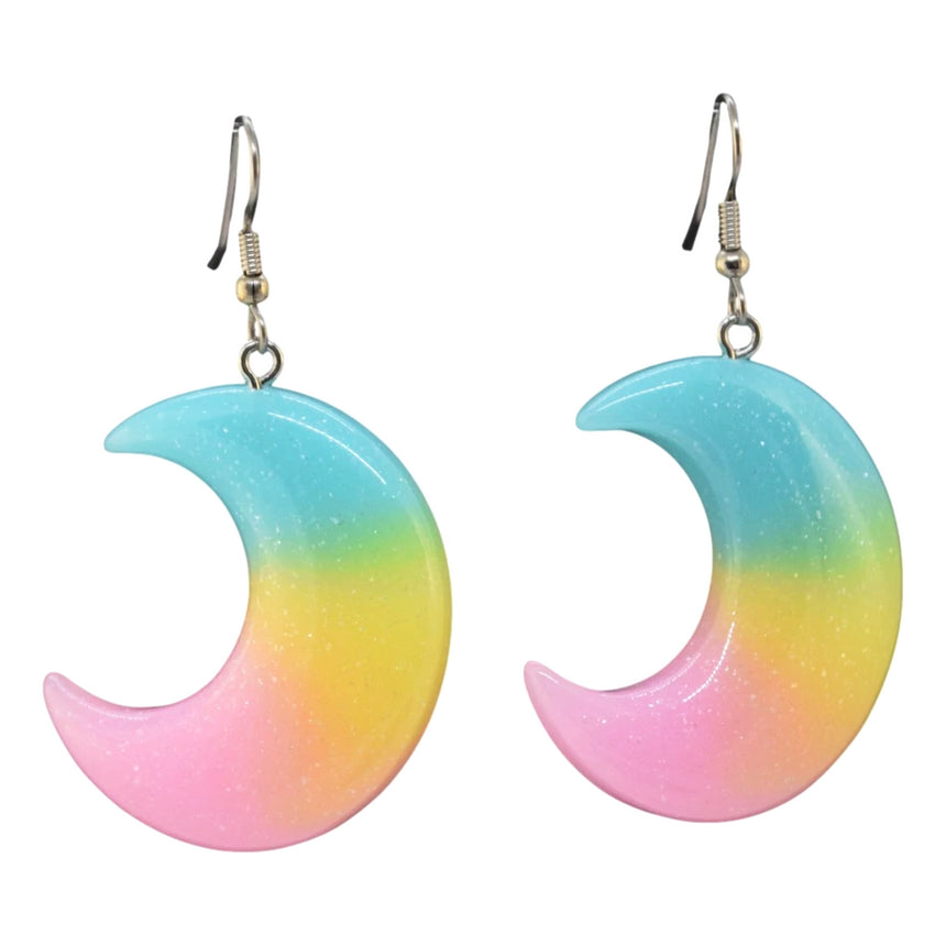 Neon Ombre Moon Earrings