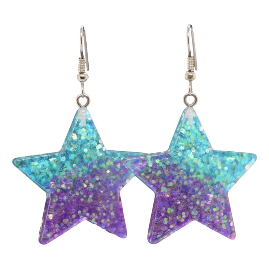 Glitter Ombre Purple Teal Star Earrings