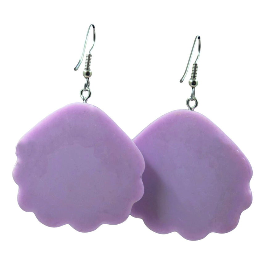Purple Solid Holographic Shell Earrings