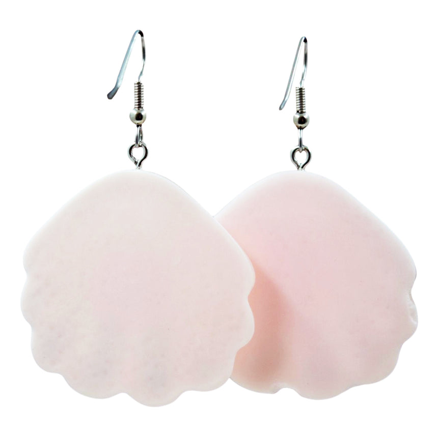 Pastel Pink Glitter Shell Earrings