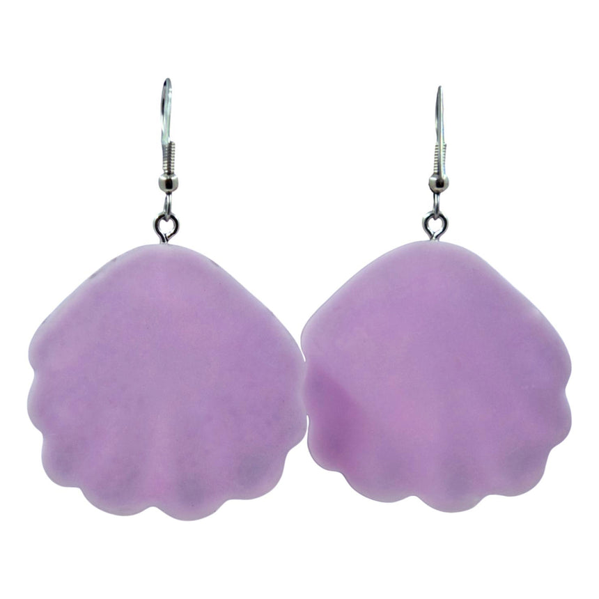 Pastel Purple Holographic Glitter Shell Earrings