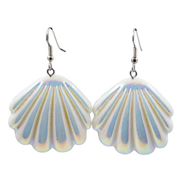 White Solid Holographic Shell Earrings