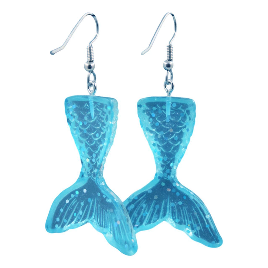 Aqua Blue Mermaid Resin Earrings