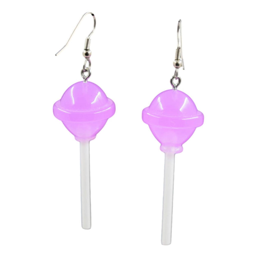 Round Translucent Purple Lollipop Earrings