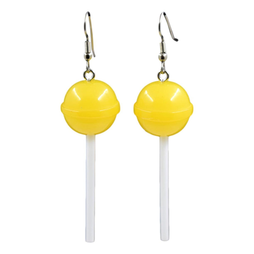 Round Yellow Lollipop Earrings