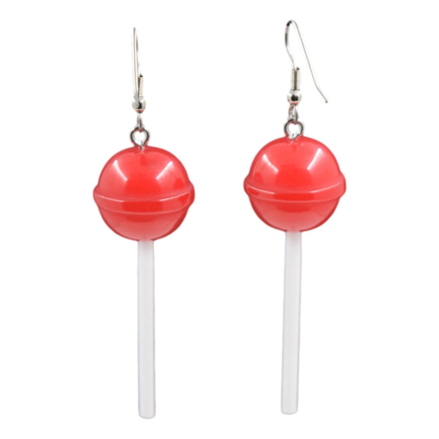 Round Red Lollipop Earrings