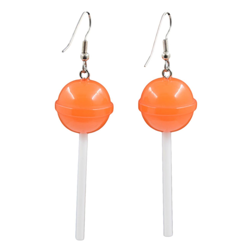 Orange Round Lollipop Earrings