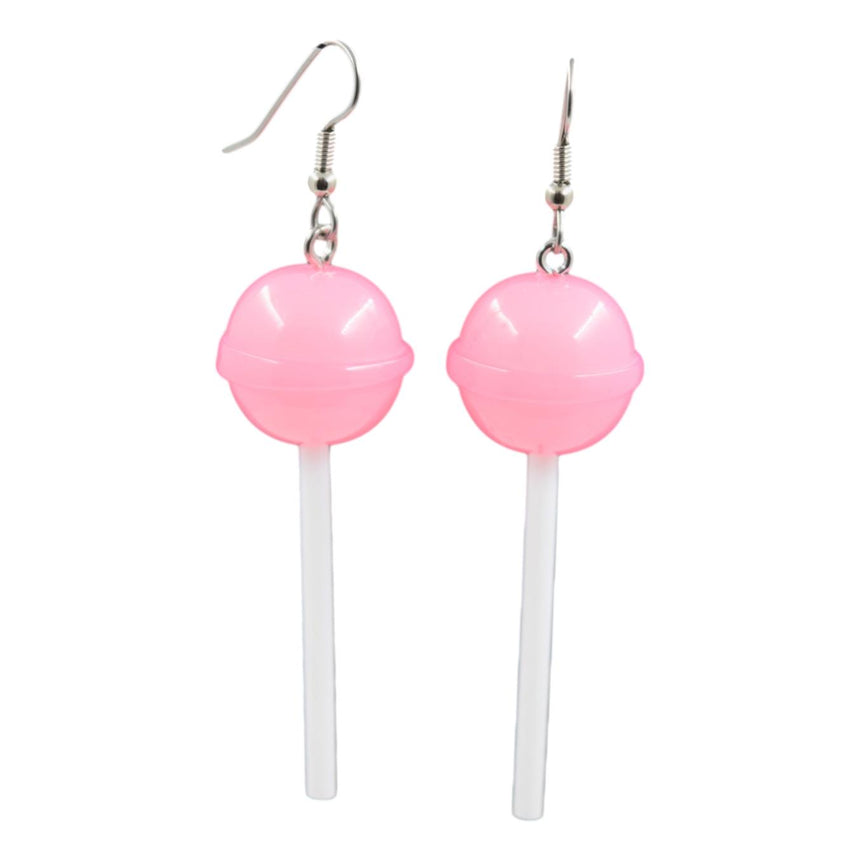 Round Light Pink Lollipop Earrings