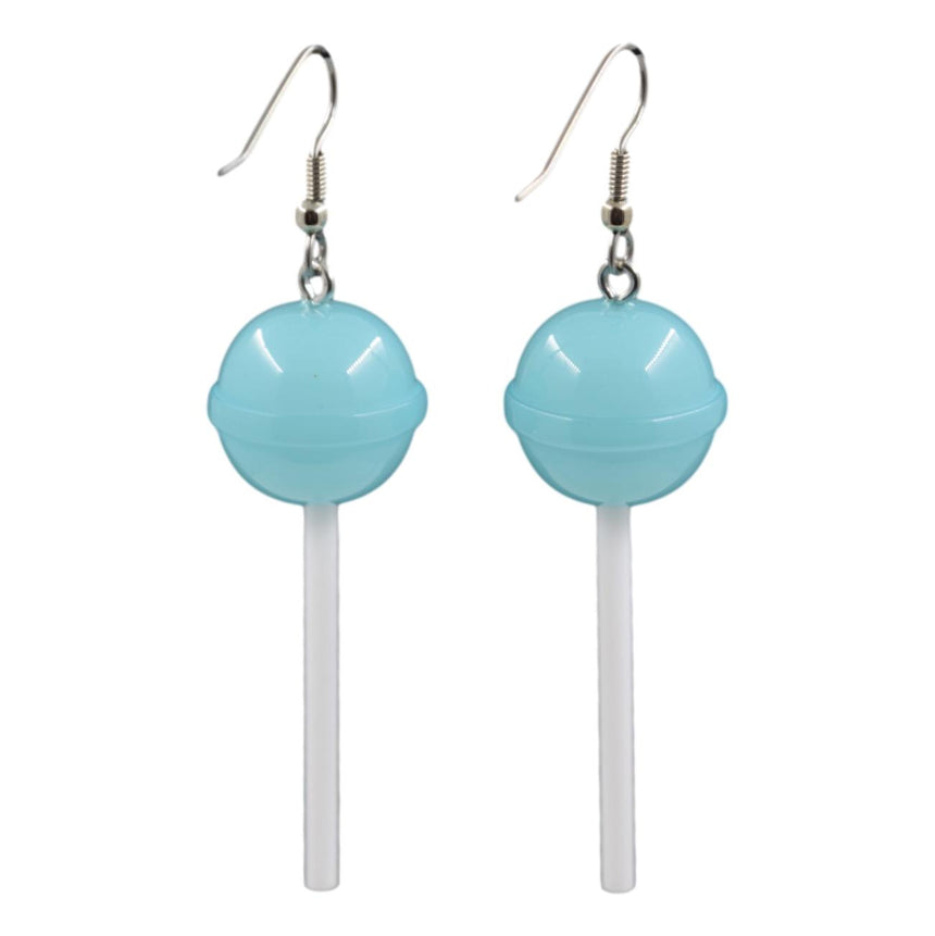 Round Light Blue Lollipop Earrings