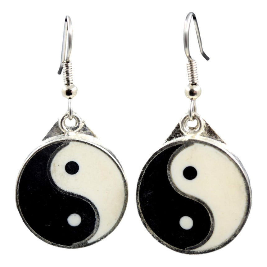 Vintage Silver Ying Yang Earrings