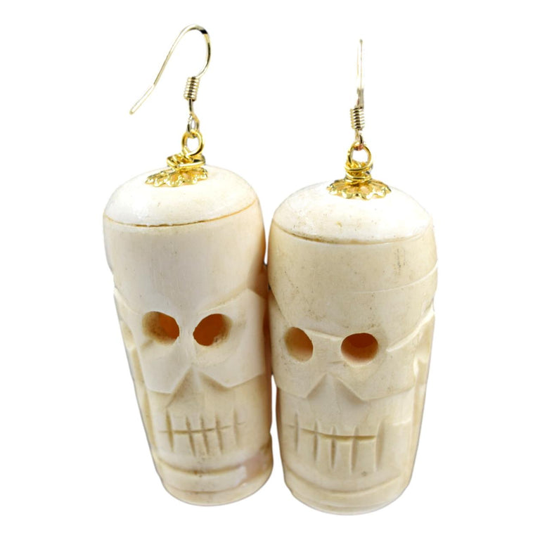 Vintage Carved Bone Skull Earrings
