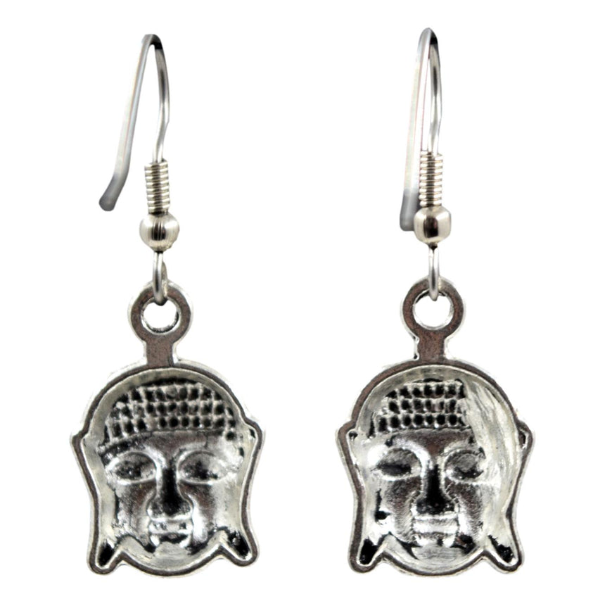 Tibetan Silver Buddha Earrings