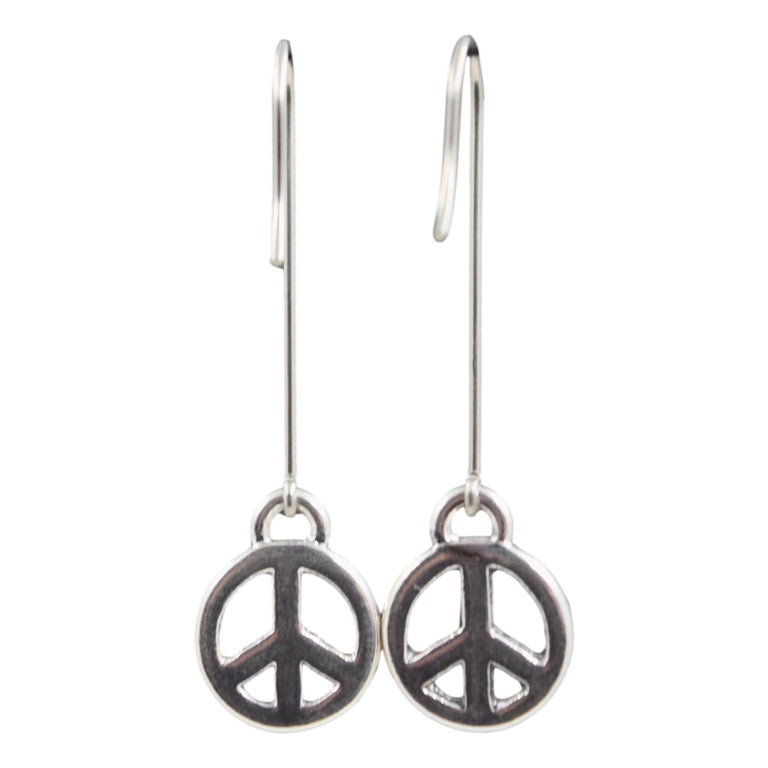 Vintage Long & Mini Peace Symbol Earrings