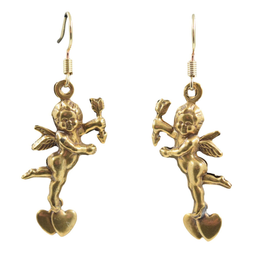 Vintage 3D Brass Cupid Heart Earrings