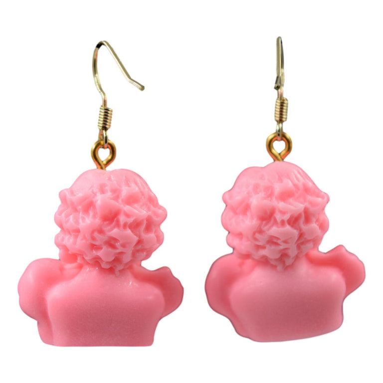 3D Resin Pink Cupid Cherub Angel Earrings