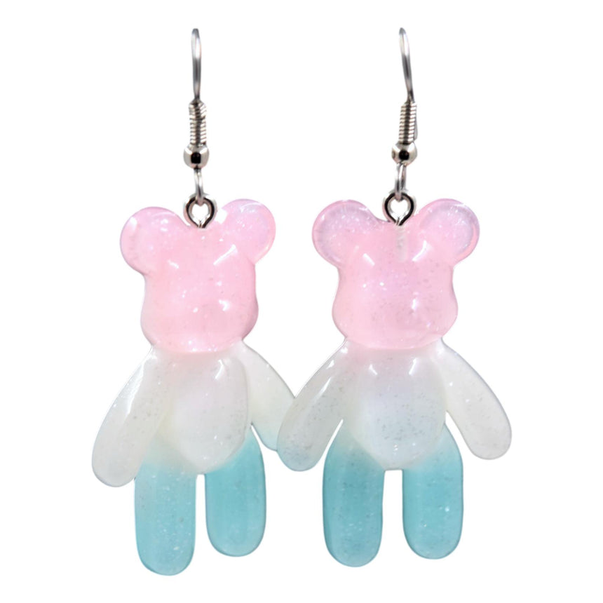 Pink White Blue Ombre Resin Bear Earrings
