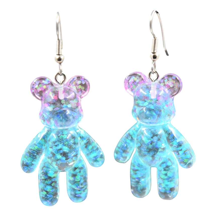 Purple Blue Ombre Resin Bear Earrings