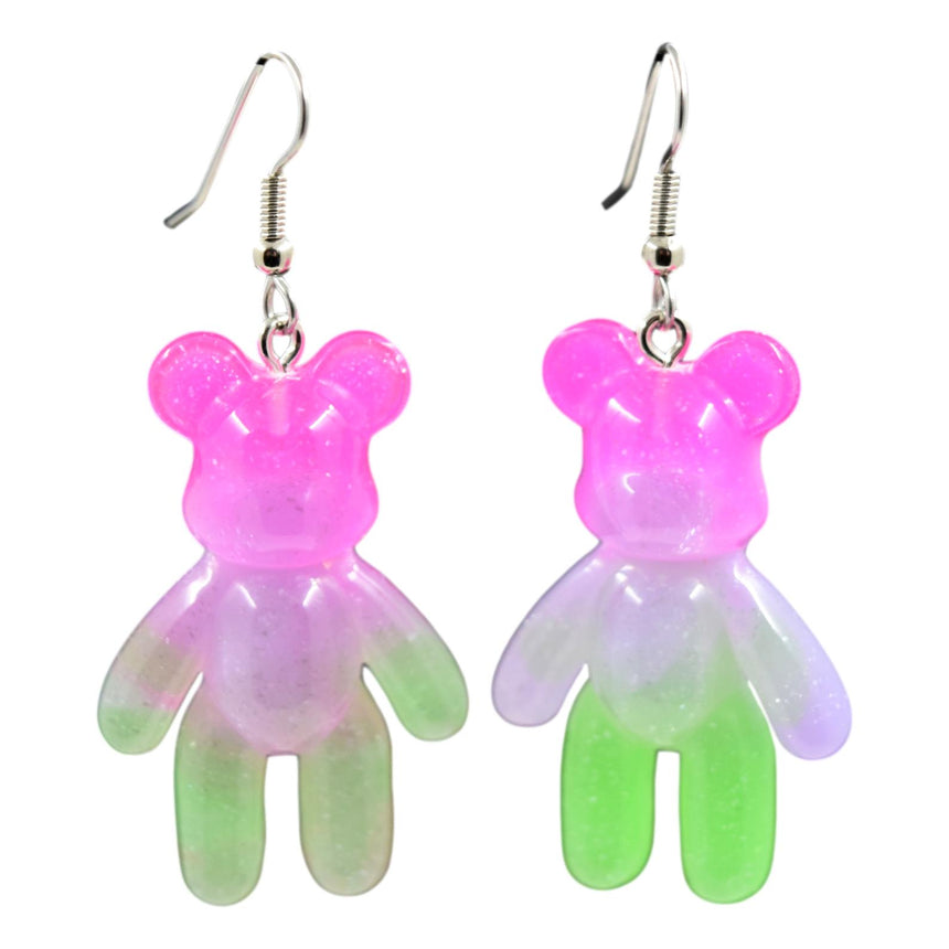 Pink Green Ombre Resin Bear Earrings