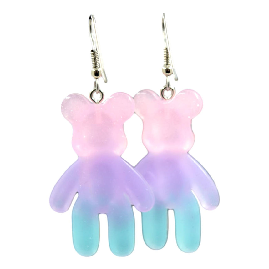 Pastel Blue Purple Pink Ombre Resin Bear Earrings