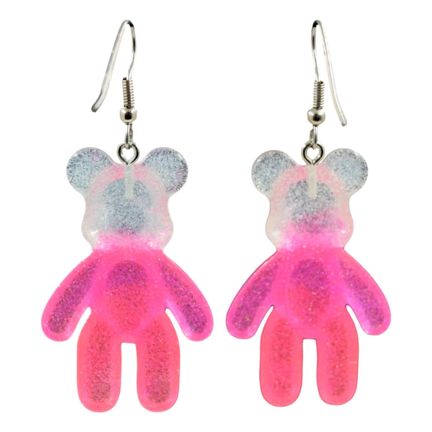White Blue Neon Pink Ombre Resin Bear Earrings