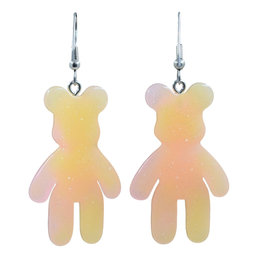 Ombre Orange Pastel Bear Earrings