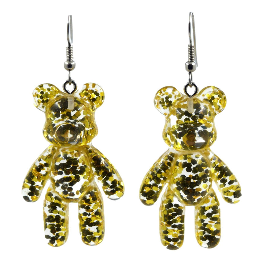 Glitter Gold Bear Earrings