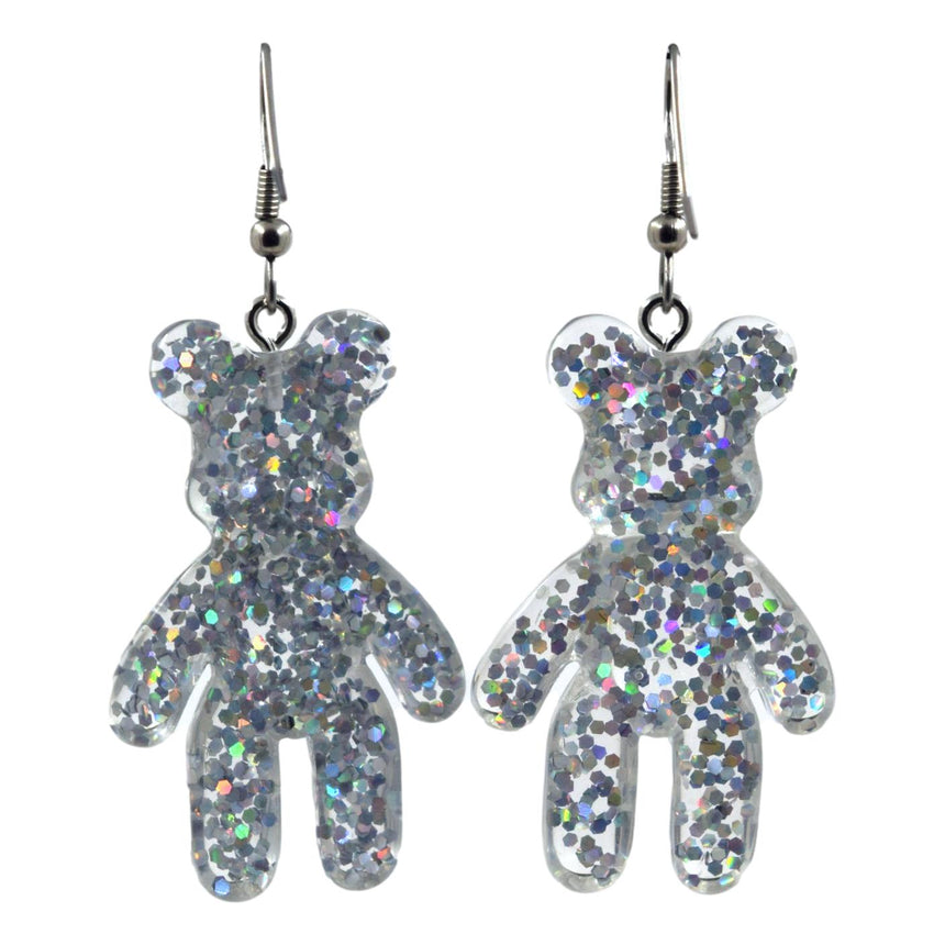 Glitter Silver Bear Earrings