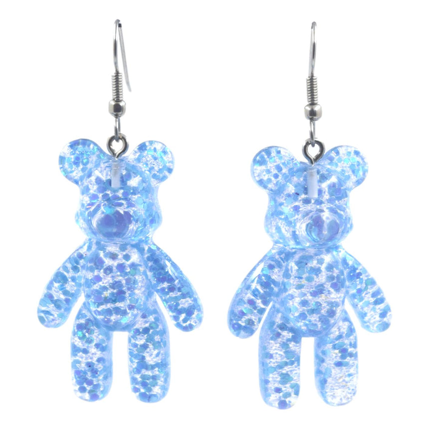 Glitter Light Blue Bear Earrings