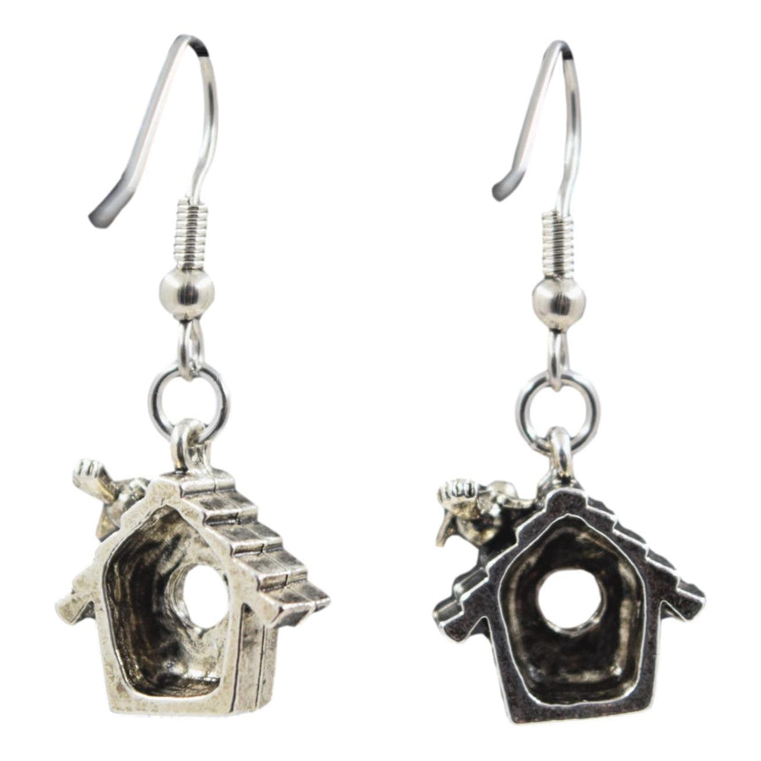 Vintage 3D Bird House Earrings