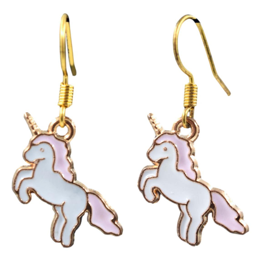 Pink Mini Unicorn Enamel Earrings