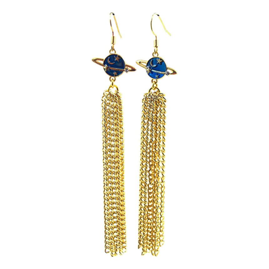 Blue Saturn Planet Tassel Earrings