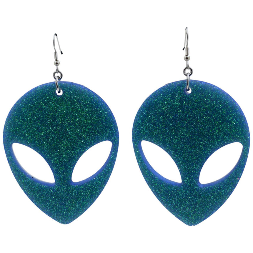 Sale! Flawed XL Blue Green Glitter Alien Resin Earrings