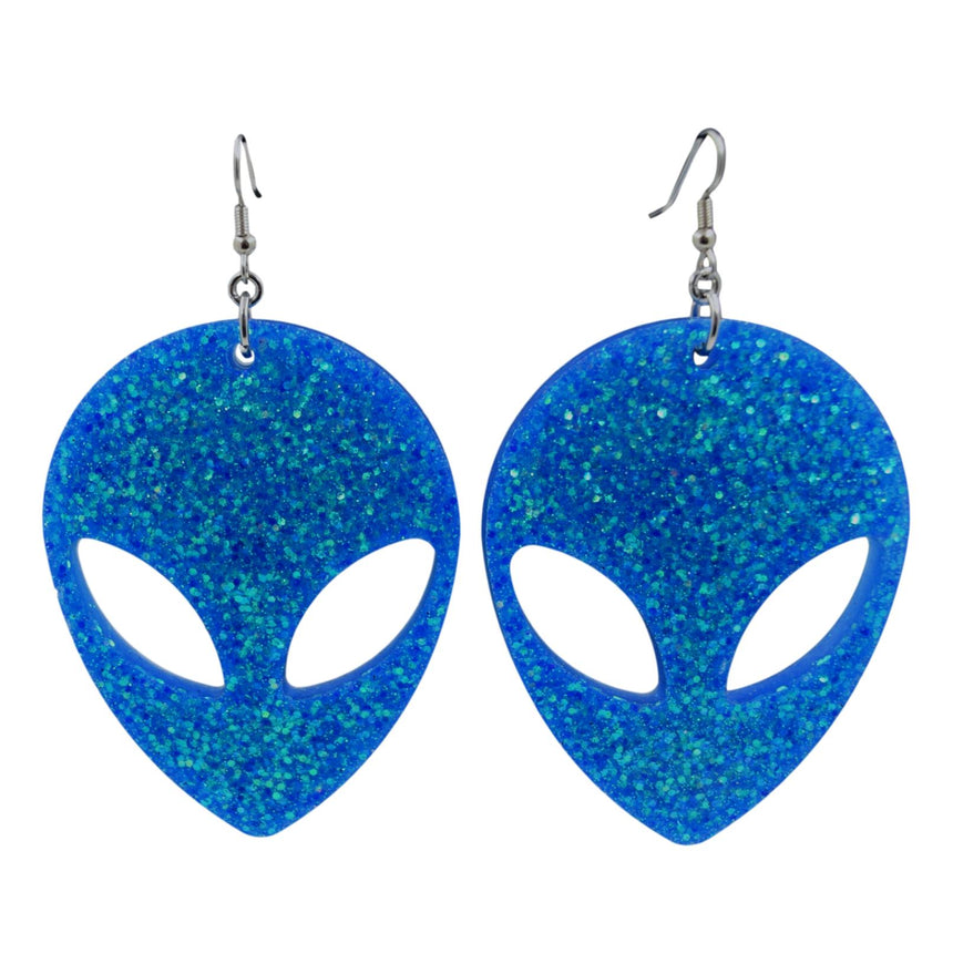 XL Holo Blue Green Glitter Alien Resin Earrings