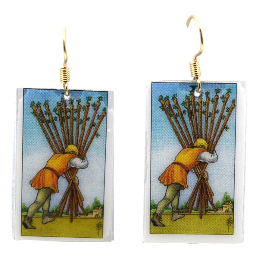 Ten of Wands Tarot Card Earrings