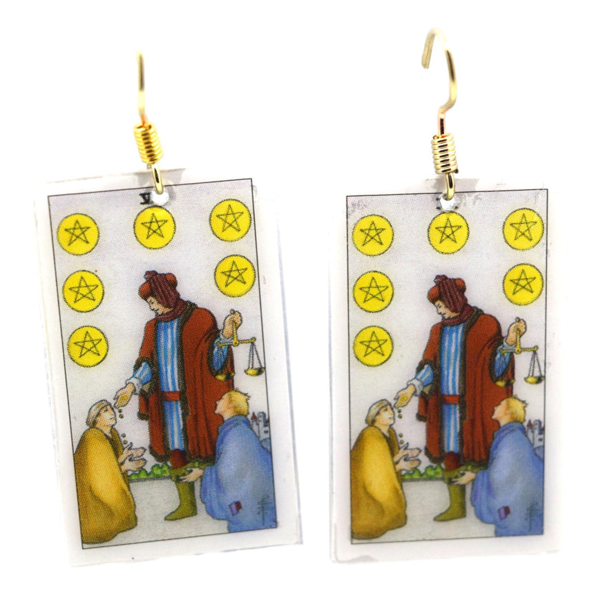 Six of Pentacles Tarot Card Earrings