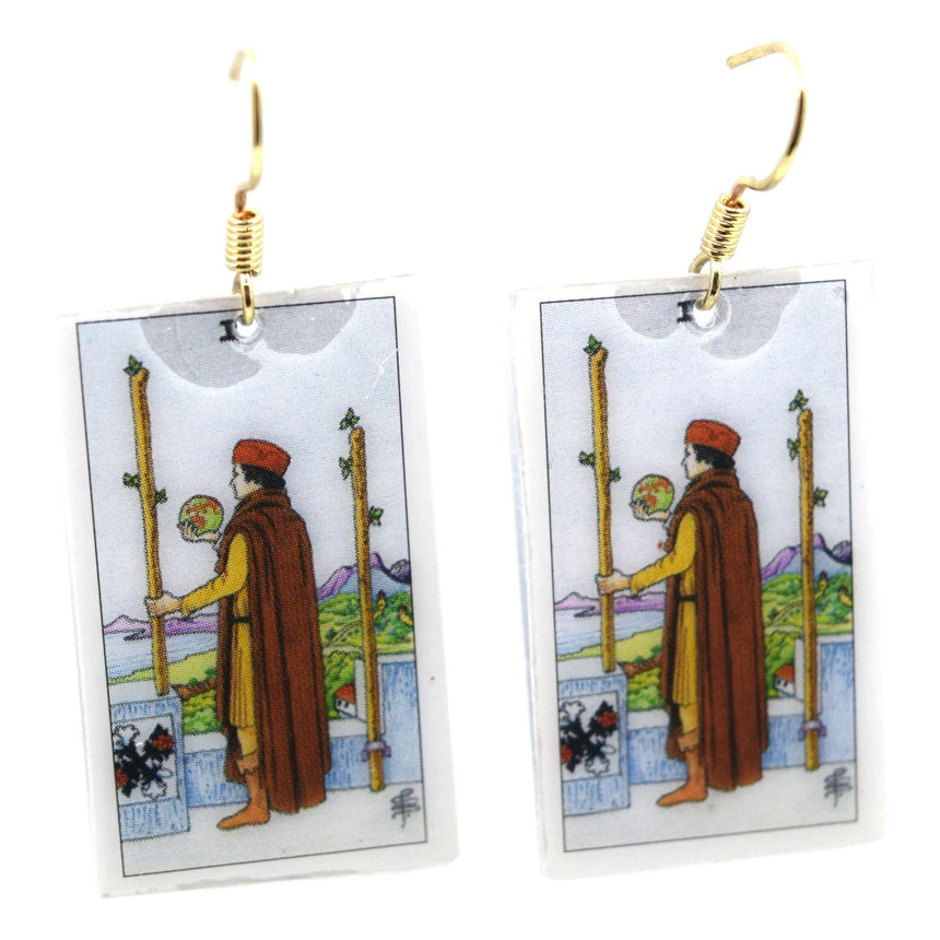 Two of Wands Tarot Card Earrings