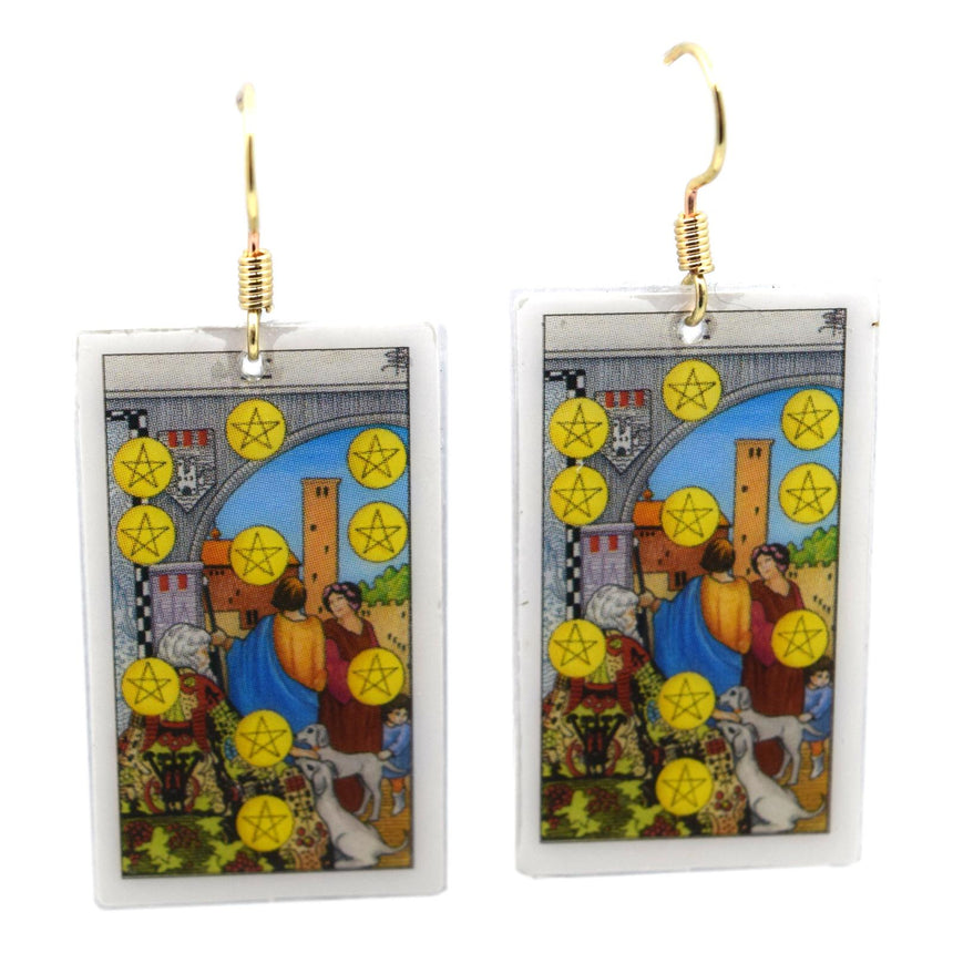 Ten of Pentacles Tarot Card Earrings