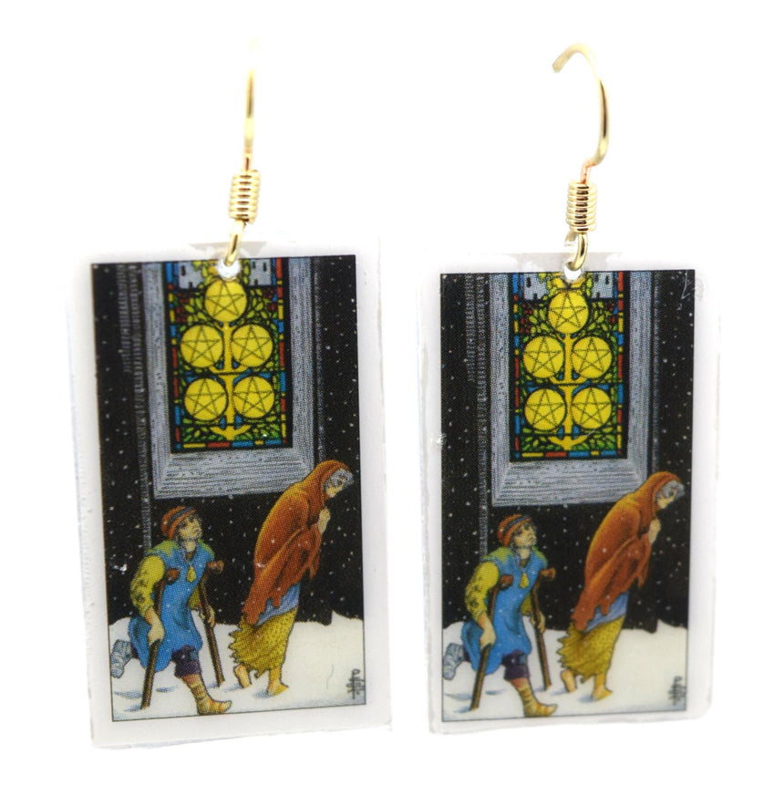 Five of Pentacles Tarot Card Earrings