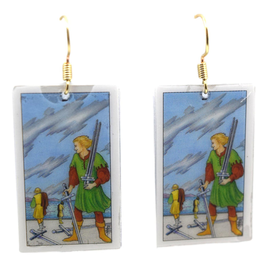 Five of Swords Tarot Card Earrings