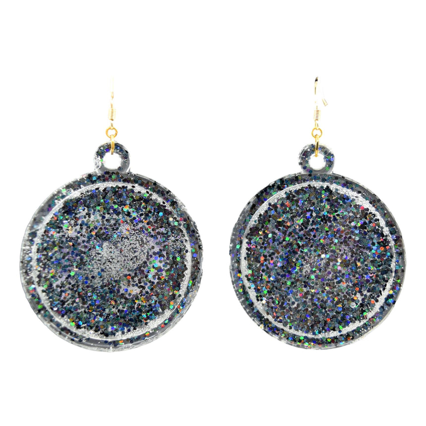 Sale! Flawed Taurus Purple Black Glitter Astrology Zodiac Symbol Earrings