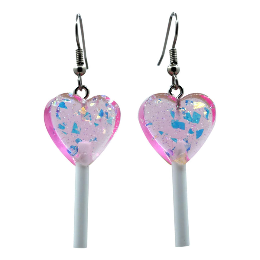 Holo Dark Pink Mini Heart Lollipop Earrings