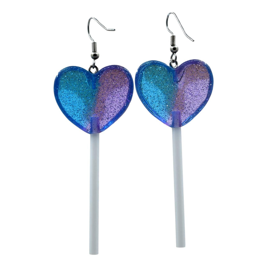 Large 3D Heart  Lollipops in Half Purple Blue Shimmer Glitter