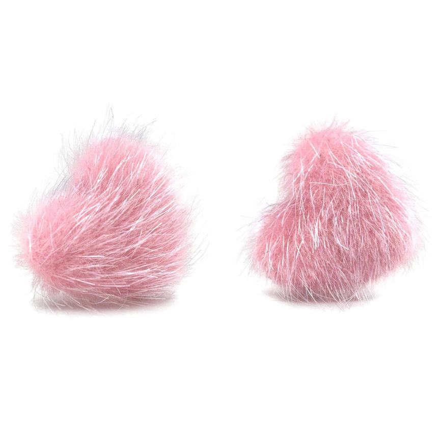 Light Pink Faux Fur Fuzzy Heart Studs