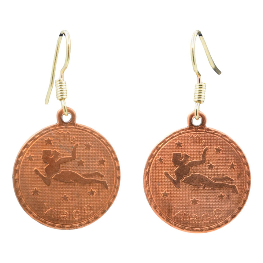 Vintage Copper Virgo Astrology Zodiac Earrings