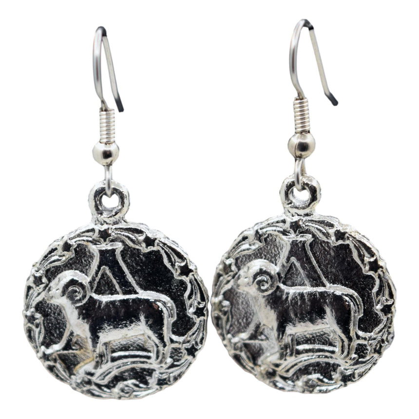Vintage Silver Aries Zodiac Astrology Earrings (Double-Sided!)