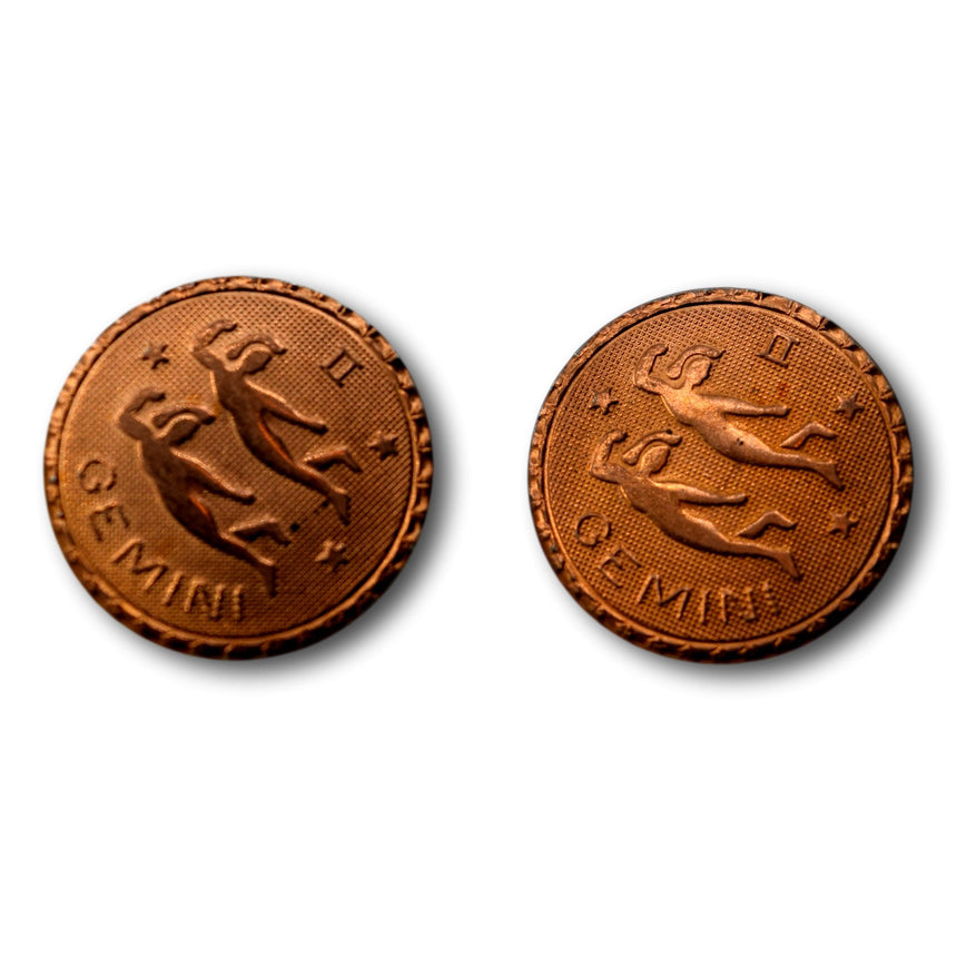 Vintage Copper Gemini Astrology Zodiac Studs