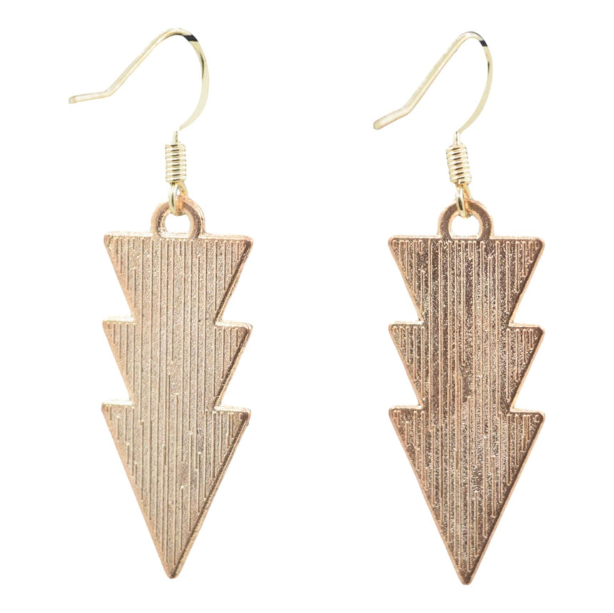 Black and White Arrow Triangle Earrings