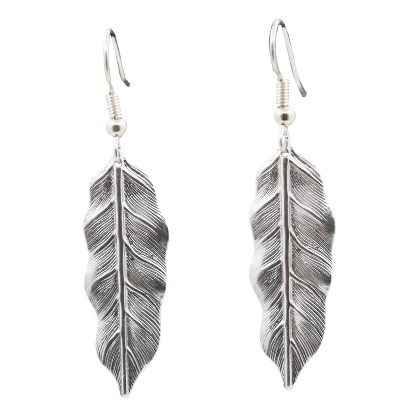 Vintage Silver Stamping Feather Earrings